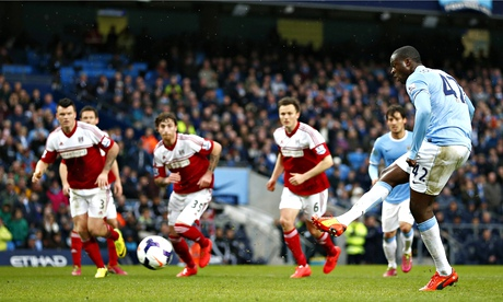 Manchester City's Yaya Touré scores the first against Fulham in the Premier League at the Etihad