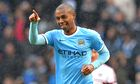 Fernandinho, whose Manchester City side are preparing for the derby at United, scored against Fulham