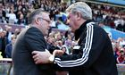 Aston Villa's Paul Lambert, right, was giving nothing away about his future