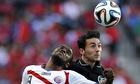 The Republic of Ireland's Stephen Kelly, right, heads the ball away from Costa Rica's Joel Campbell