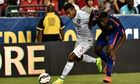 Manchester United's Wilfried Zaha, right, vies with Juan Jesus of Internazionale in Washington