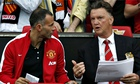 Louis Van Gaal, right, speaks to Ryan Giggs during Manchester United's friendly against Valencia