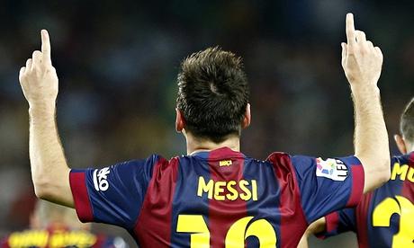 Barcelona's Lionel Messi celebrates his second goal against Elche at Camp Nou.
