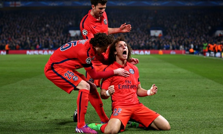 David Luiz contrite after celebrations in front of Chelsea's Shed End