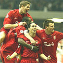 Luis Garcia celebrates with friends