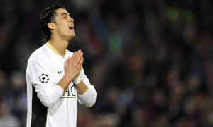 Manchester United's Cristiano Ronaldo looks dejected after missing a penalty