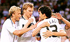 The German team celebrate