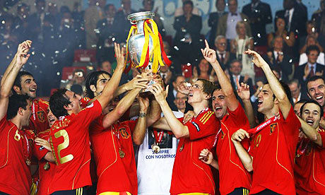 Spain lift the European Championship trophy