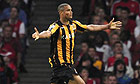 Daniel Cousin celebrates scoring Hull City's winning goal against Arsenal