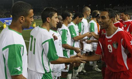 Palestine and Jordan players at al-Ram stadium