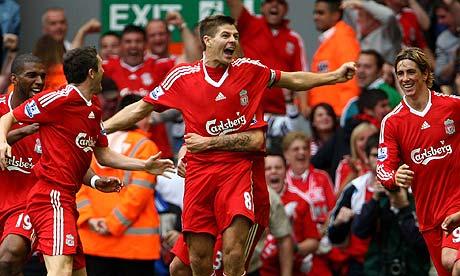 steven gerrard liverpool. Steven Gerrard celebrates