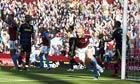 James Collins celebrates putting Aston Villa 2-1 up against Chelsea
