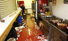 A damaged food area at Oakwell after Barnsley's Carling Cup tie against Manchester United
