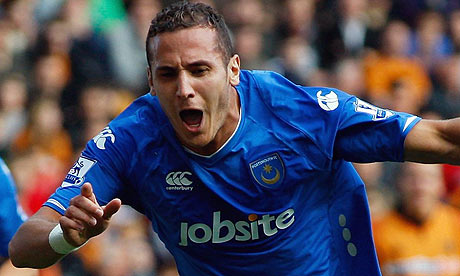 Hassan Yebda celebrates after scoring for Portsmouth during their 1-0 win over Wolves