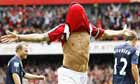 Arsenal's Cesc Fabregas celebrates against Blackburn