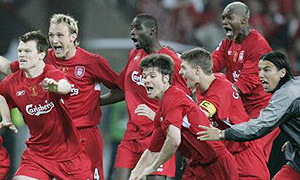 Liverpool celebrate their 2005 Champions League final win in Istanbul