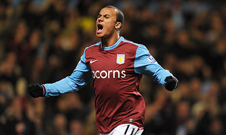 Gabriel Agbonlahor celebrates his goal for Aston Villa against Tottenham