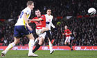 Manchester United's Darron Gibson scores his sides second goal against Tottenham in the Carling Cup