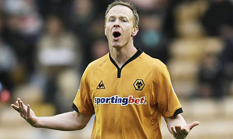 Jody Craddock celebrates after opening the scoring for Wolves against Bolton