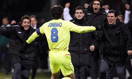 the free kick master juninho lyon barcelona or cristiano ronaldo