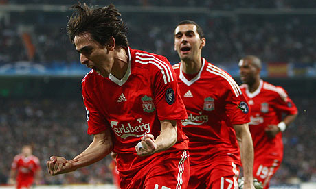 Yossi Benayoun celebrates scoring Liverpool's winner against Real Madrid in the Champions League