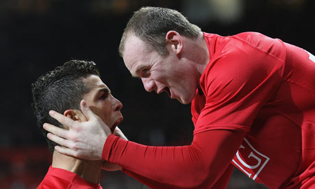 Ronaldo and Rooney celebrate