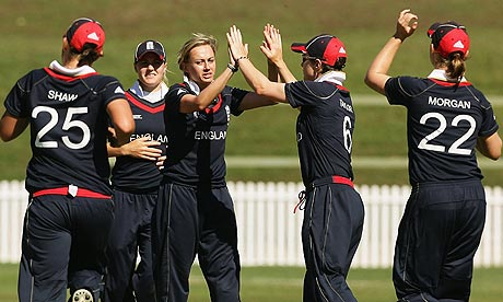 England celebrate after Laura Marsh takes a wicket during the Women's World Cup win over West Indies