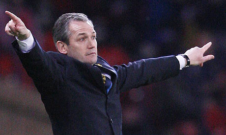 Scotland manager George Burley gestures during the game with Iceland