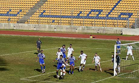 Lebanese clubs Racing and Shabab al-Sahel play to empty stands at Beirut's Municipal Stadium