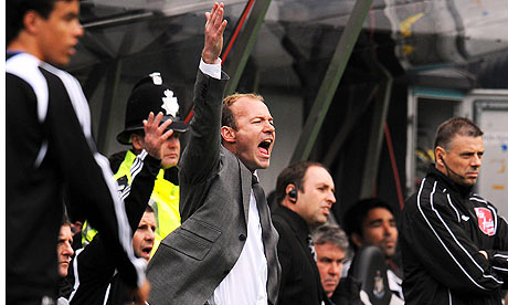 Newcastle manager Alan Shearer feels the strain the match against Chelsea.