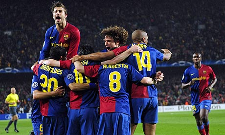 lionel messi 2009 barcelona. Barcelona celebrate their