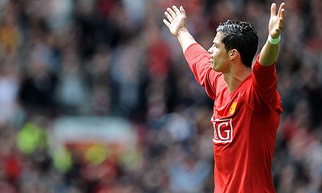 Cristiano Ronaldo celebrates scoring against Manchester City