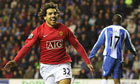 Carlos Tevez of Manchester United against Wigan Athletic
