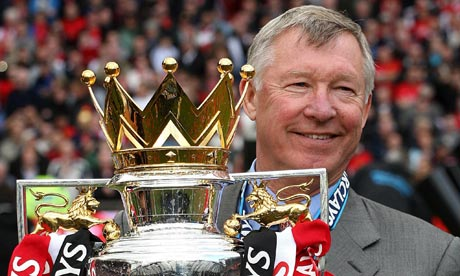 Sir Alex with the 11th Premier League trophy