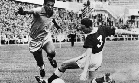 Garrincha skins Welsh defender Mel Hopkins in 1958