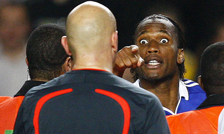Chelsea's Didier Drogba shouts at referee Tom Henning Ovrebo