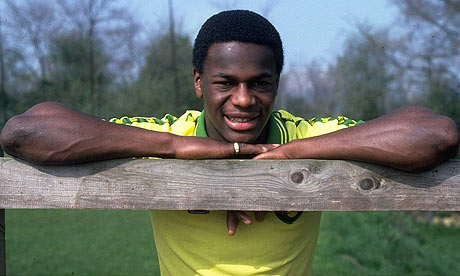 Justin Fashanu at the peak of his career, in Norwich City shirt.