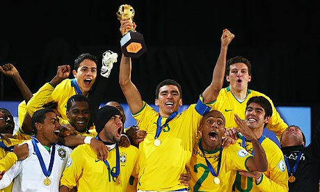 Brazil celebrate winning the Confederations Cup Final