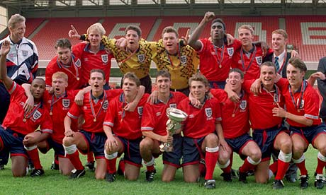 England's Under-18 team celebrate after beating Turkey in 1993 European Championships final
