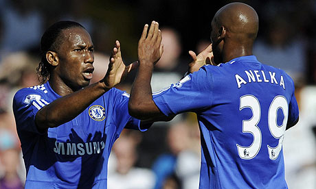 Didier Drogba and Nicolas Anelka celebrate during Chelsea's win over Fulham
