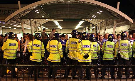 Riot police outside Upton Park last night