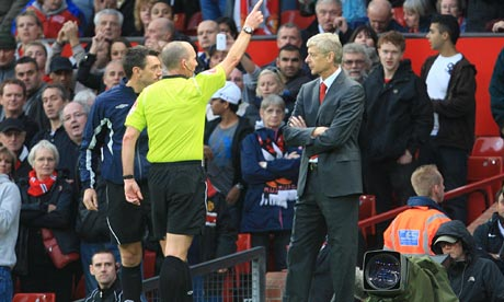 Arsene Wenger sent off at Old Trafford