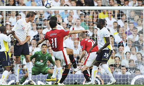 Ryan Giggs equalises for Manchester United against Tottenham at White Hart Lane