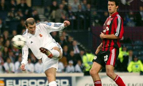 Zinedine Zidane scores the winner in the European Cup final of 2002