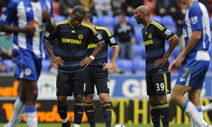 Chelsea's Didier Drogba and Nicolas Anelka react after Wigan scored their third goal