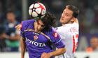 Liverpool's Fabio Aurelio, right, v Fiorentina