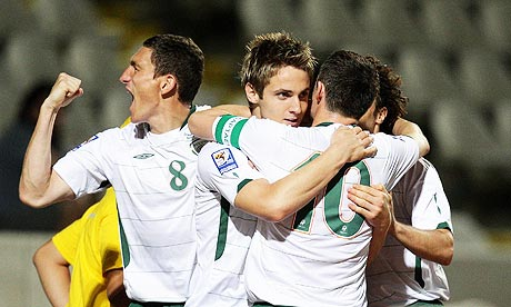 Republic of Ireland's Kevin Doyle celebrates scoring against Cyprus