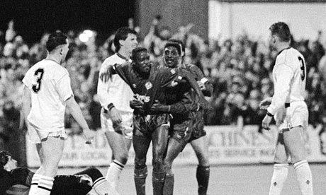 Earl Barrett scores Oldham's third against West Ham in 1990