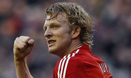 Dirk Kuyt celebrates Liverpool's opener against Bolton Wanderers in the Premier League