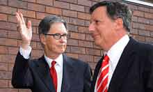 John W Henry and Tom Werner at the Merseyside derby